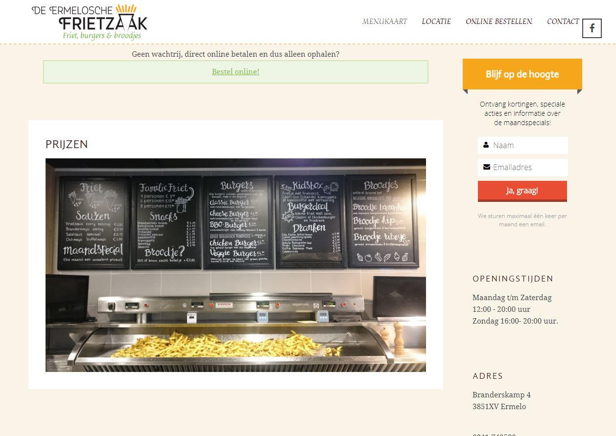 Ermelosche Frietzaak menukaart